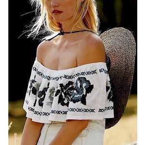 FREE PEOPLE Woven Tunic Intricate Draped Pullover